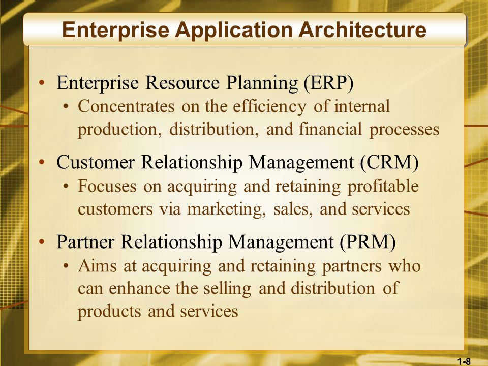 1-8 Enterprise Application Architecture Enterprise Resource Planning (ERP) Concentrates on the efficiency of internal production, distribution, and financial processes Customer Relationship Management (CRM) Focuses on acquiring and retaining profitable customers via marketing, sales, and services Partner Relationship Management (PRM) Aims at acquiring and retaining partners who can enhance the selling and distribution of products and services