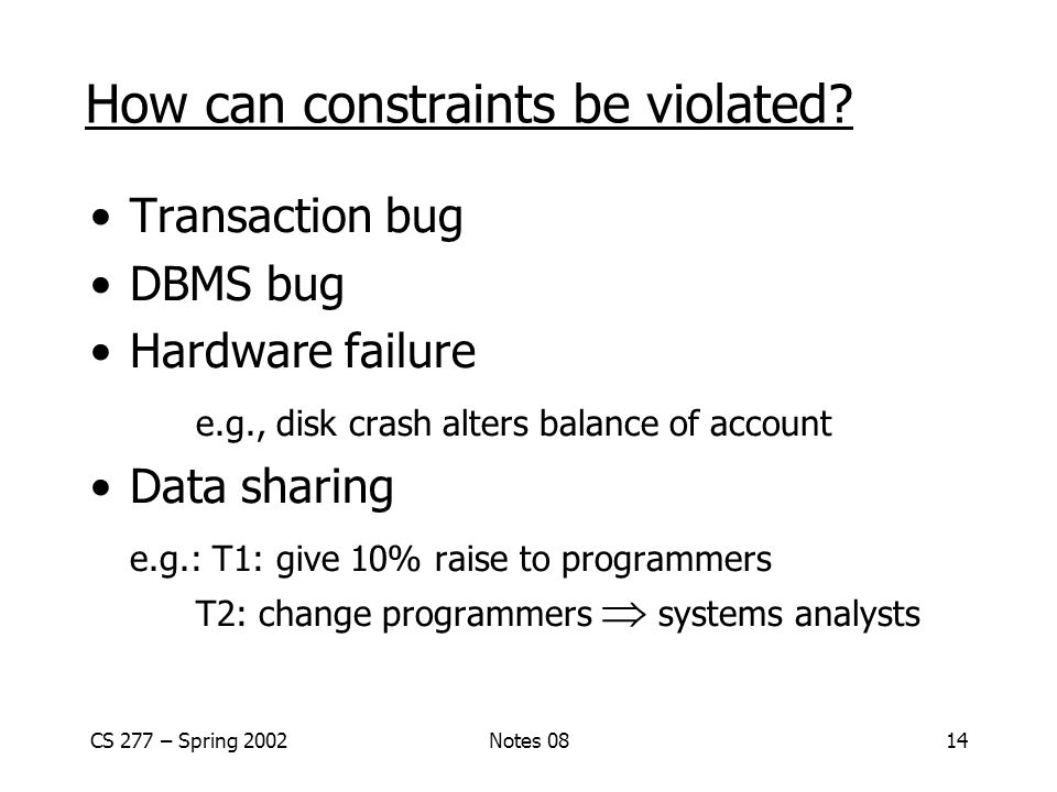 CS 277 – Spring 2002Notes 0814 How can constraints be violated.