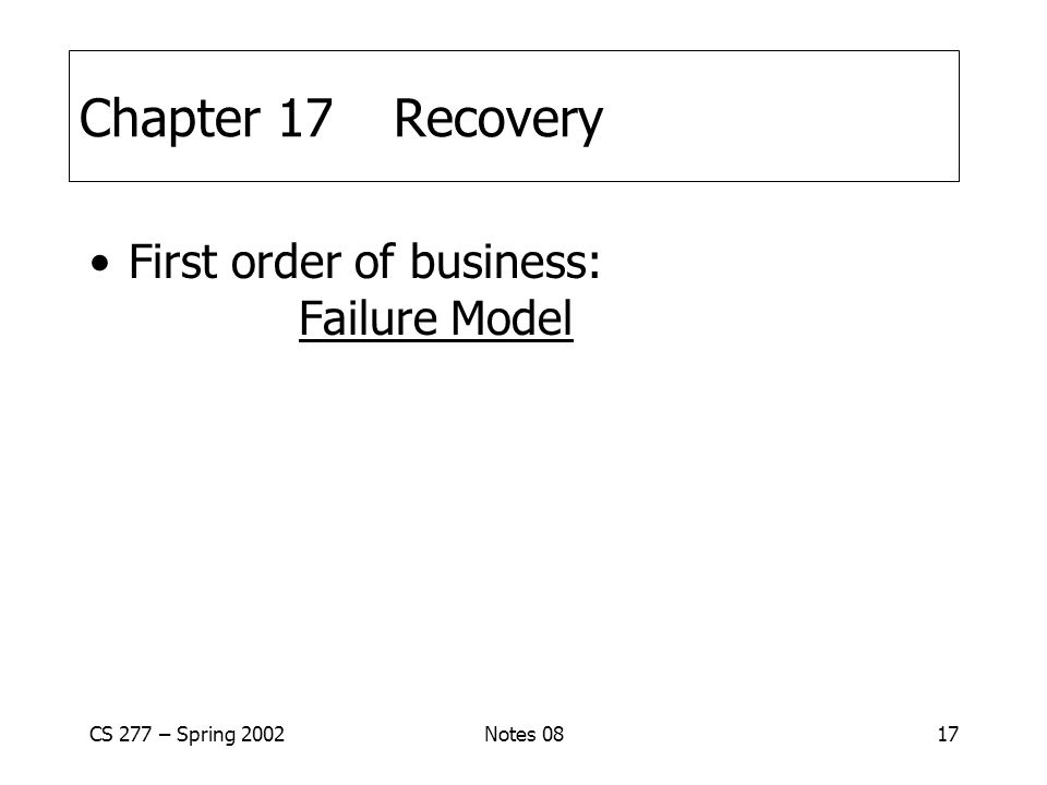 CS 277 – Spring 2002Notes 0817 Chapter 17Recovery First order of business: Failure Model