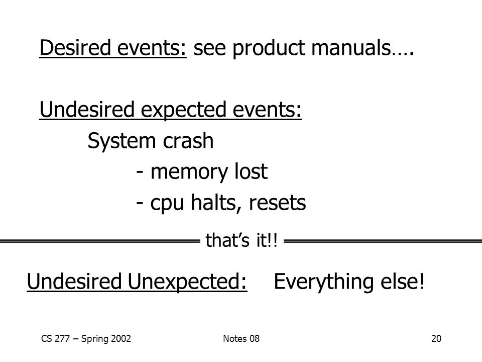 CS 277 – Spring 2002Notes 0820 Desired events: see product manuals….