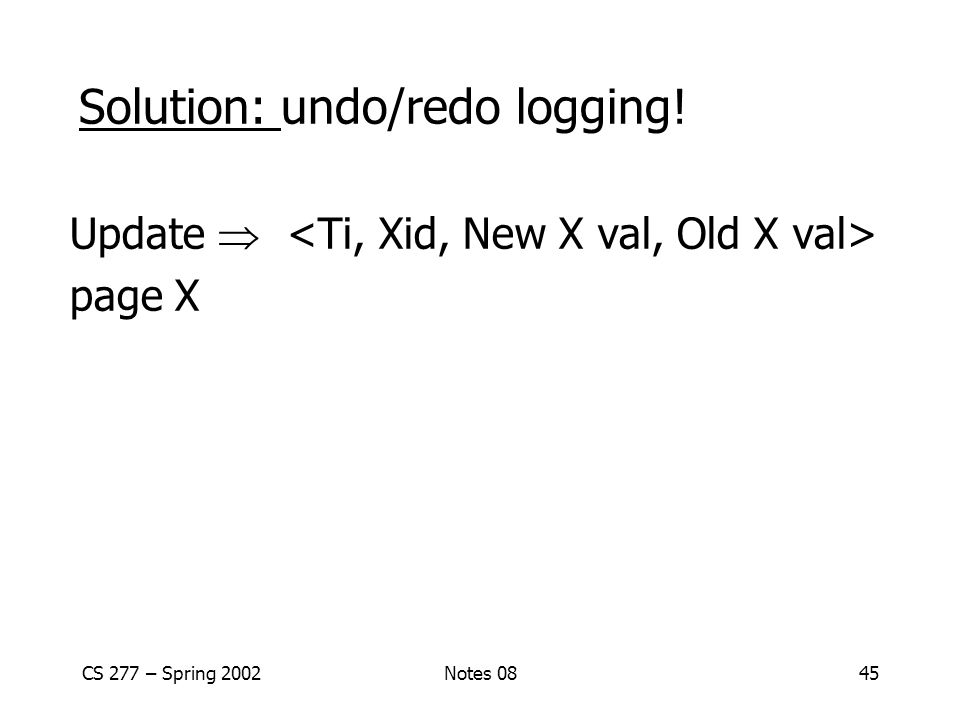 CS 277 – Spring 2002Notes 0845 Solution: undo/redo logging! Update  page X