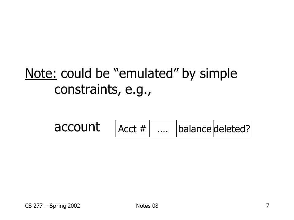 CS 277 – Spring 2002Notes 087 Note: could be emulated by simple constraints, e.g., account Acct #….balancedeleted