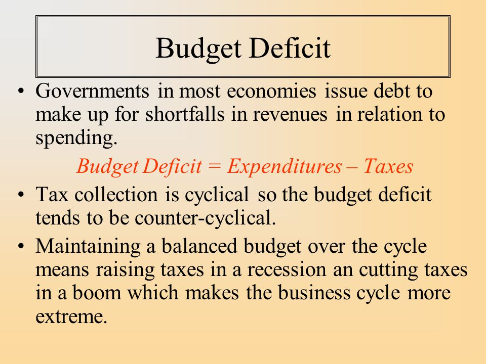 Budget Deficit Governments in most economies issue debt to make up for shortfalls in revenues in relation to spending.