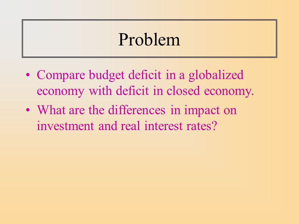 Problem Compare budget deficit in a globalized economy with deficit in closed economy.