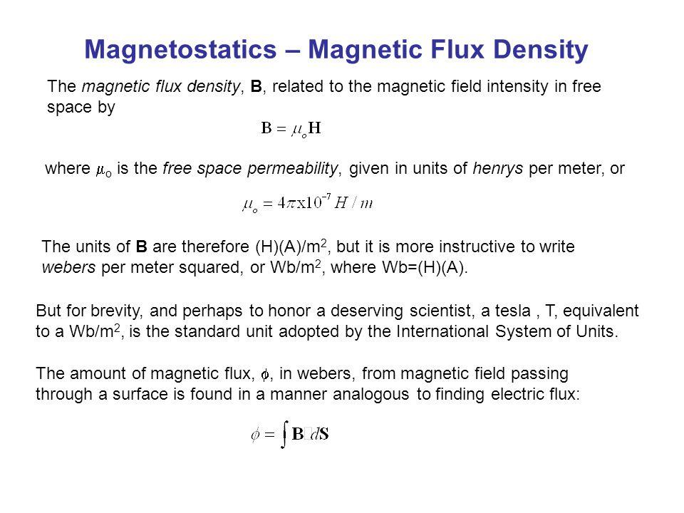 Magnetostatics – Magnetic Flux Density The magnetic flux