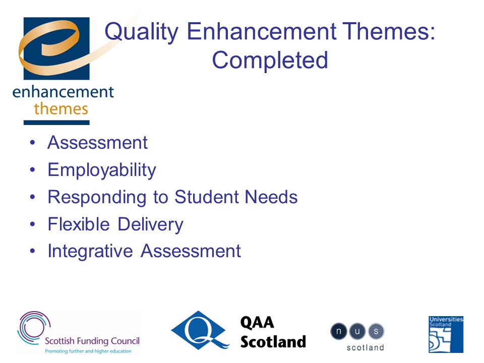 Quality Enhancement Themes: Completed Assessment Employability Responding to Student Needs Flexible Delivery Integrative Assessment