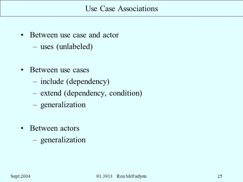 Sept Ron McFadyen25 Use Case Associations Between use case and actor –uses (unlabeled) Between use cases –include (dependency) –extend (dependency, condition) –generalization Between actors –generalization