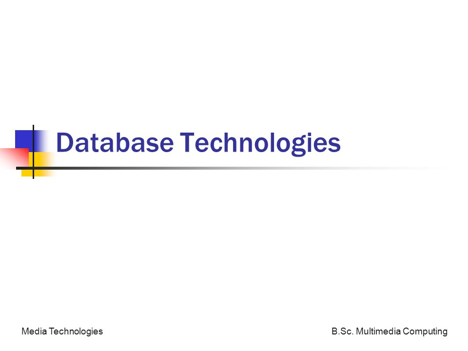 B.Sc. Multimedia ComputingMedia Technologies Database Technologies