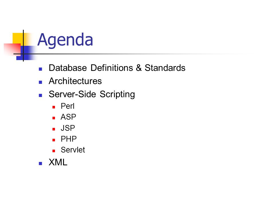 Agenda Database Definitions & Standards Architectures Server-Side Scripting Perl ASP JSP PHP Servlet XML