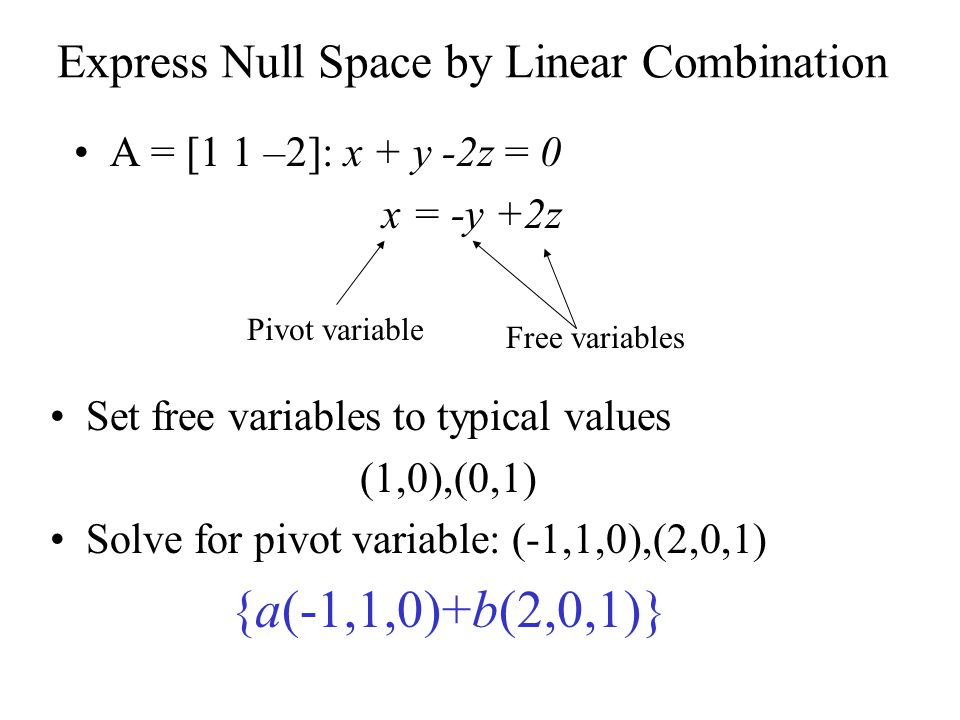 Express Null Space by Linear Combination A = [1 1 –2]: x + y -2z = 0 x = -y +2z Free variables Pivot variable Set free variables to typical values (1,0),(0,1) Solve for pivot variable: (-1,1,0),(2,0,1) {a(-1,1,0)+b(2,0,1)}