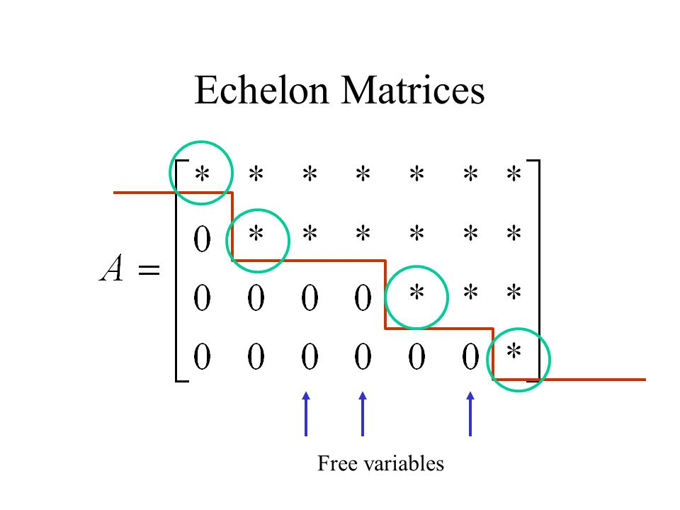 Echelon Matrices Free variables
