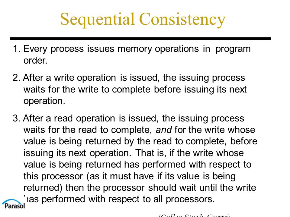 Sequential Consistency 1. Every process issues memory operations in program order.