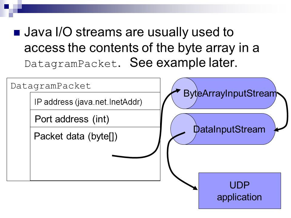 Java I/O streams are usually used to access the contents of the byte array in a DatagramPacket.