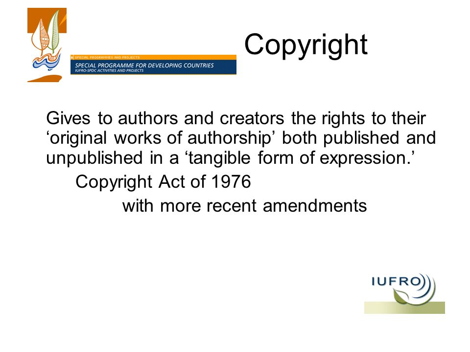 Copyright Gives to authors and creators the rights to their 'original works of authorship' both published and unpublished in a 'tangible form of expression.' Copyright Act of 1976 with more recent amendments