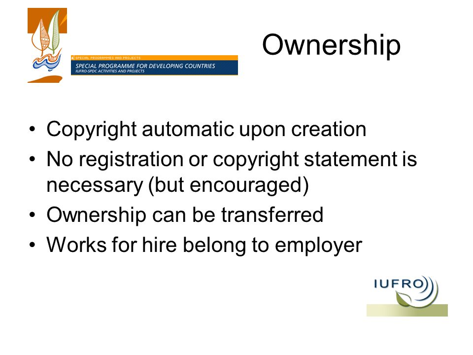 Ownership Copyright automatic upon creation No registration or copyright statement is necessary (but encouraged) Ownership can be transferred Works for hire belong to employer