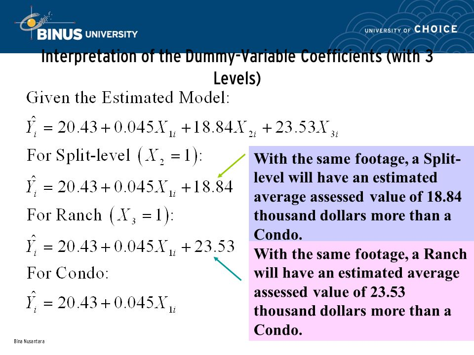 Bina Nusantara Interpretation of the Dummy-Variable Coefficients (with 3 Levels) With the same footage, a Split- level will have an estimated average assessed value of thousand dollars more than a Condo.