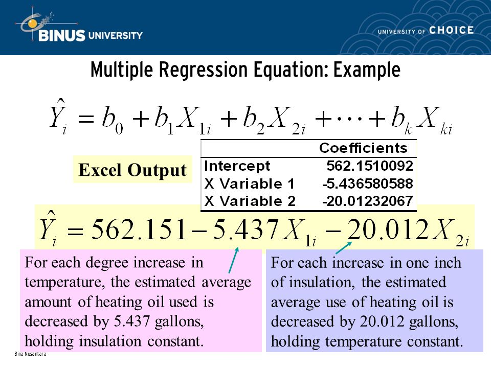 Bina Nusantara Multiple Regression Equation: Example Excel Output For each degree increase in temperature, the estimated average amount of heating oil used is decreased by gallons, holding insulation constant.