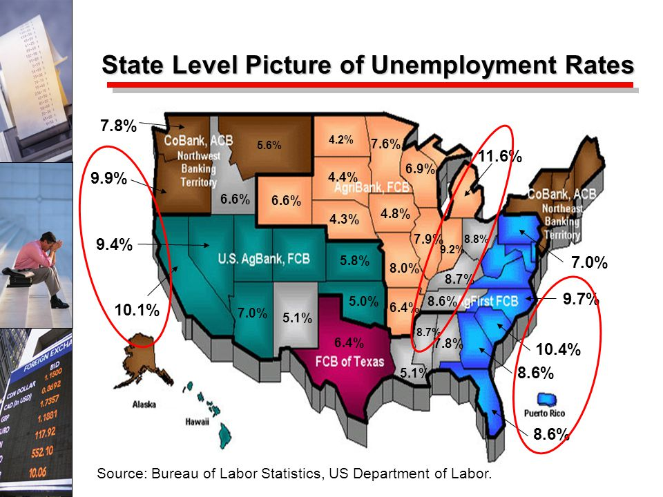 10.1% 9.9% 9.4% 11.6% 10.4% 9.7% 8.6% State Level Picture of Unemployment Rates 8.7% 8.6% 8.8% 7.9% 9.2% 7.8% 7.0% 8.0% 4.8% 4.3% 4.4% 4.2% 7.6% 6.9% 6.4% 5.1% 7.8% 5.6% 6.6% 5.8% 5.0% 5.1% 7.0% 8.7% Source: Bureau of Labor Statistics, US Department of Labor.