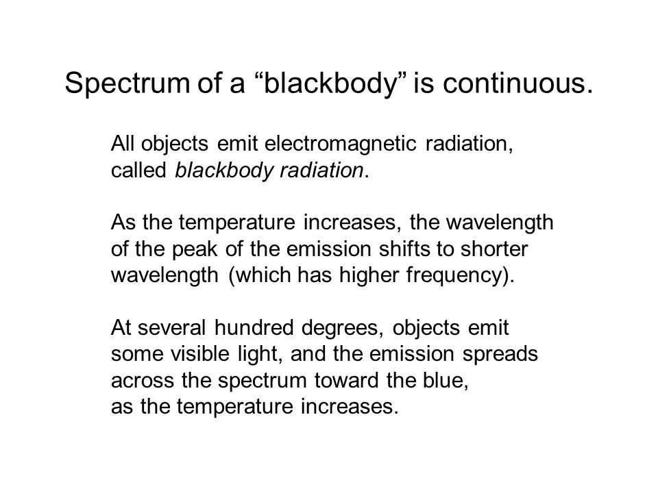 Spectrum of a blackbody is continuous.