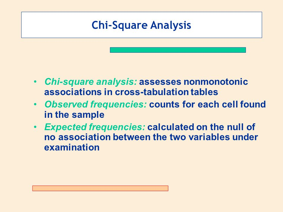 Chi-Square Analysis Chi-square analysis: assesses nonmonotonic associations in cross-tabulation tables Observed frequencies: counts for each cell found in the sample Expected frequencies: calculated on the null of no association between the two variables under examination