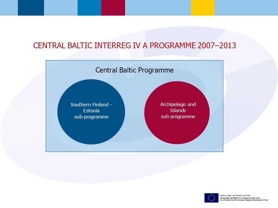 Central Baltic Programme Southern Finland – Estonia sub-programme Archipelago and Islands sub-programme CENTRAL BALTIC INTERREG IV A PROGRAMME 2007–2013