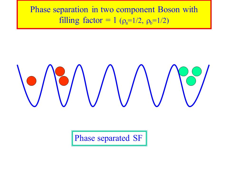 Phase separation in two component Boson with filling factor = 1 (  a =1/2,  b =1/2) Phase separated SF