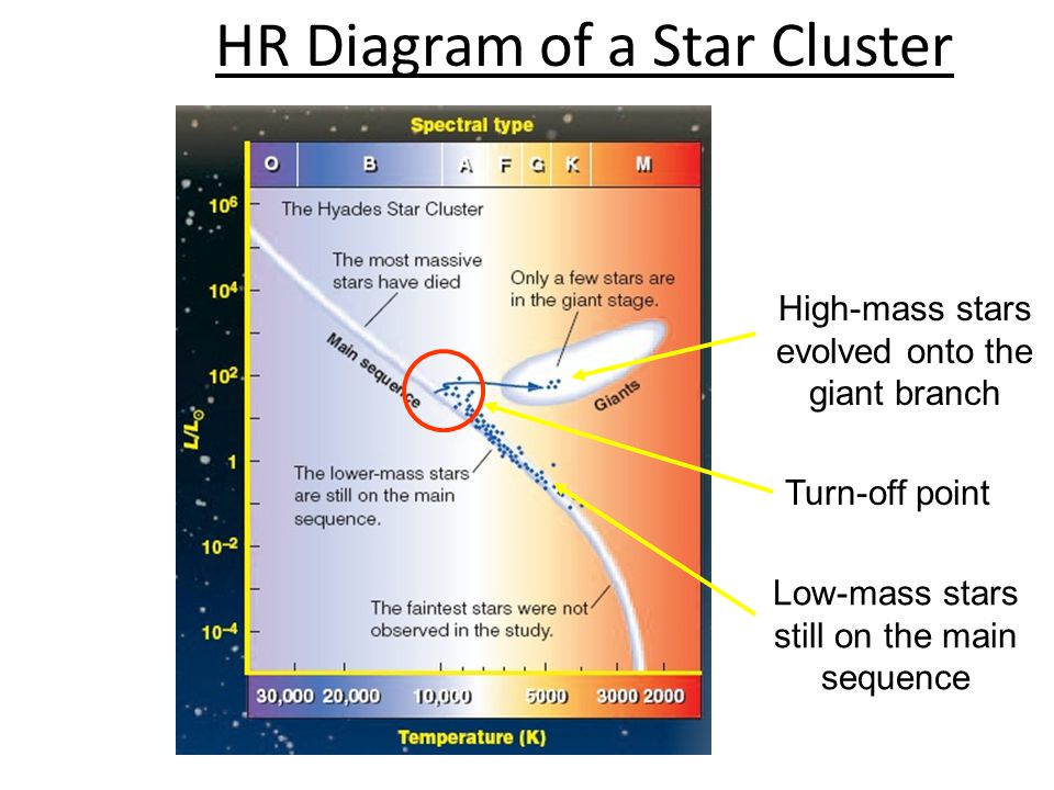 13 high-mass stars evolved onto the giant branch low-mass stars still on  the main sequence turn-off point hr diagram of a star cluster