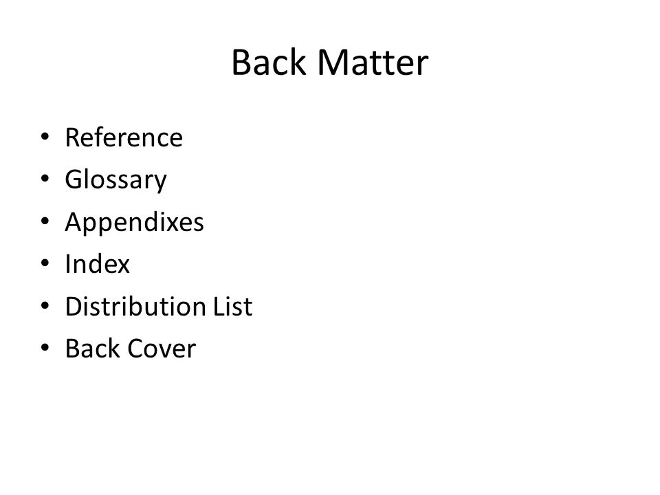 Front matter transmittal letter front cover title page forward or 2 back matter reference glossary appendixes index distribution list back cover thecheapjerseys Gallery