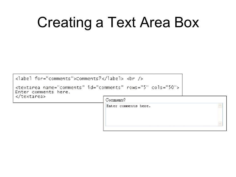 Creating a Text Area Box