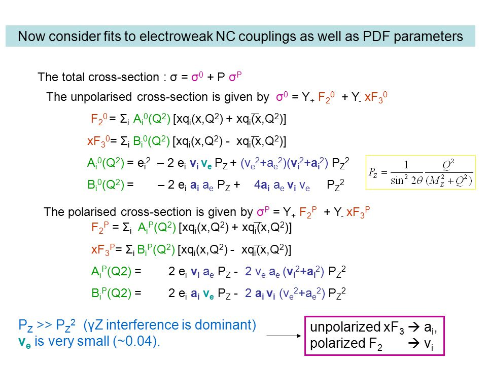Now consider fits to electroweak NC couplings as well as PDF parameters F 2 0 = Σ i A i 0 (Q 2 ) [xq i (x,Q 2 ) + xq i (x,Q 2 )] xF 3 0 = Σ i B i 0 (Q 2 ) [xq i (x,Q 2 ) - xq i (x,Q 2 )] A i 0 (Q 2 ) = e i 2 – 2 e i v i v e P Z + (v e 2 +a e 2 )(v i 2 +a i 2 ) P Z 2 B i 0 (Q 2 ) = – 2 e i a i a e P Z + 4a i a e v i v e P Z 2 The unpolarised cross-section is given by σ 0 = Y + F Y - xF 3 0 The polarised cross-section is given by σ P = Y + F 2 P + Y - xF 3 P P Z >> P Z 2 (γZ interference is dominant) v e is very small (~0.04).