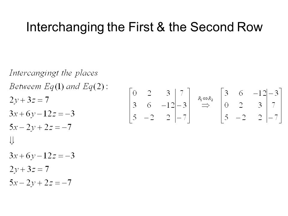 Interchanging the First & the Second Row