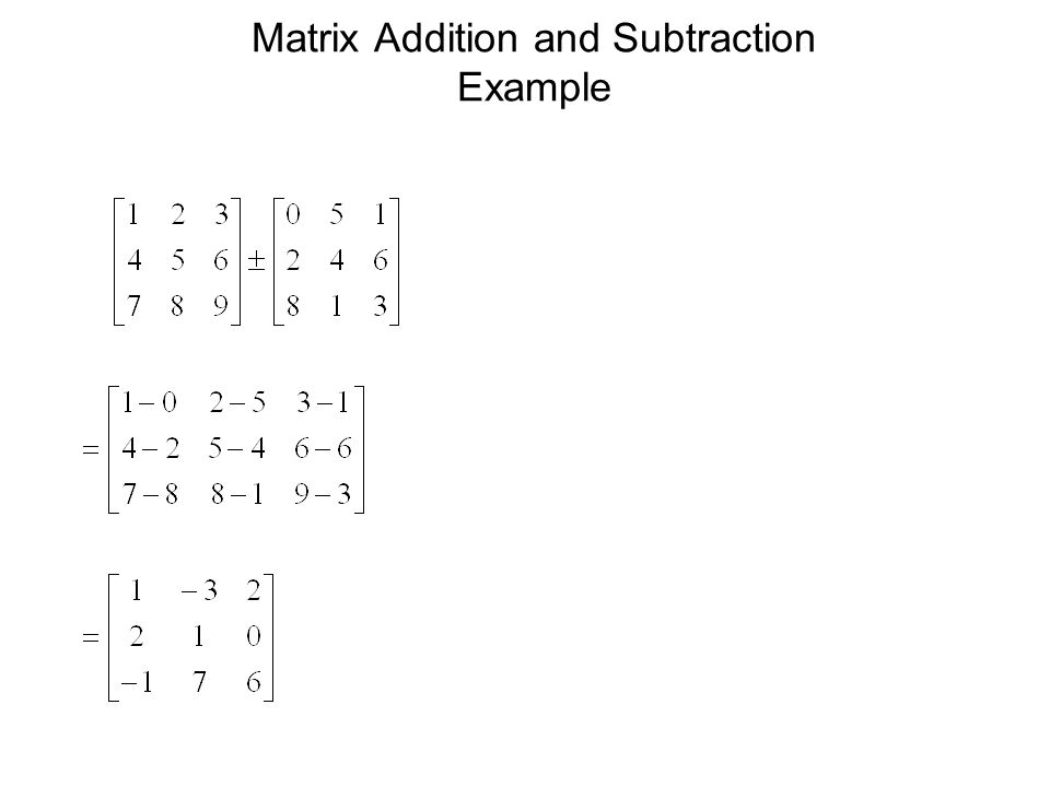 Matrix Addition and Subtraction Example