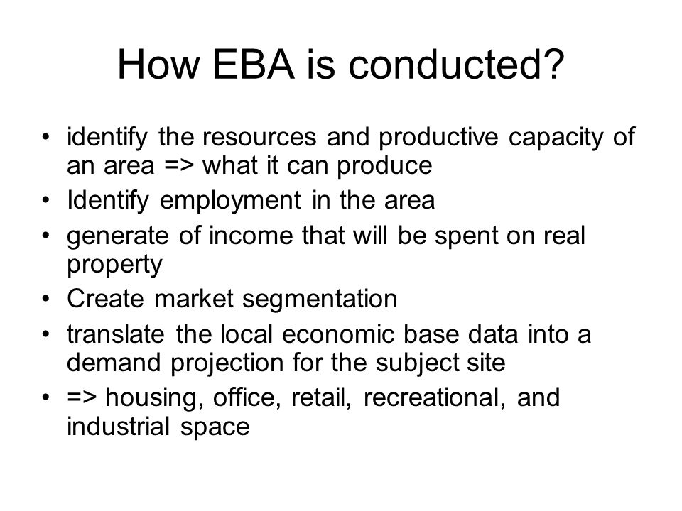 How EBA is conducted.