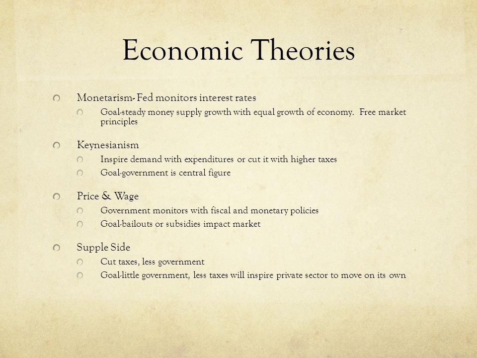 Economic Theories Monetarism- Fed monitors interest rates Goal-steady money supply growth with equal growth of economy.