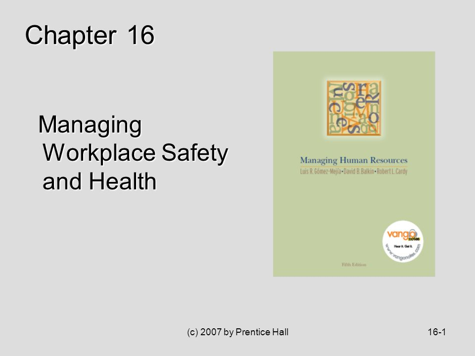 (c) 2007 by Prentice Hall16-1 Managing Workplace Safety and Health Managing Workplace Safety and Health Chapter 16