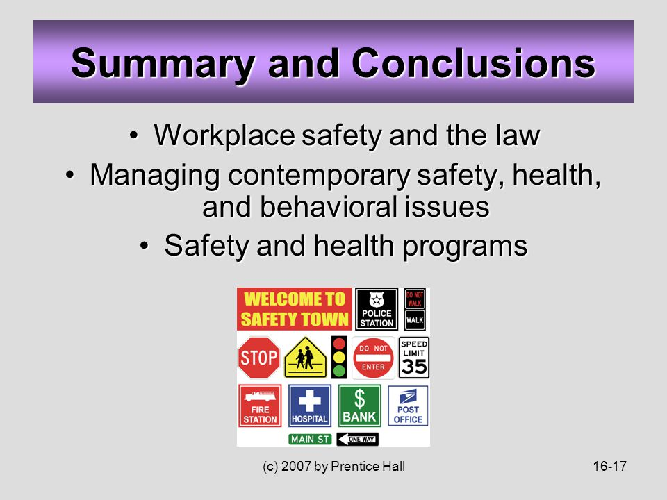 (c) 2007 by Prentice Hall16-17 Summary and Conclusions Workplace safety and the lawWorkplace safety and the law Managing contemporary safety, health, and behavioral issuesManaging contemporary safety, health, and behavioral issues Safety and health programsSafety and health programs