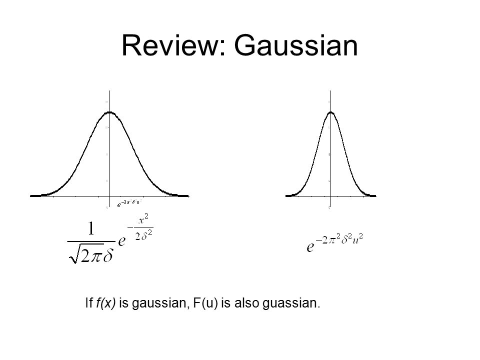 Review: Gaussian If f(x) is gaussian, F(u) is also guassian.