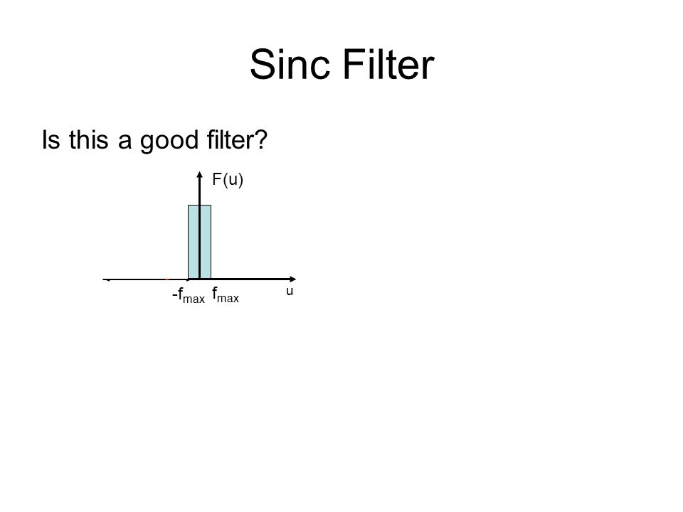 Sinc Filter F(u) u -f max f max Is this a good filter