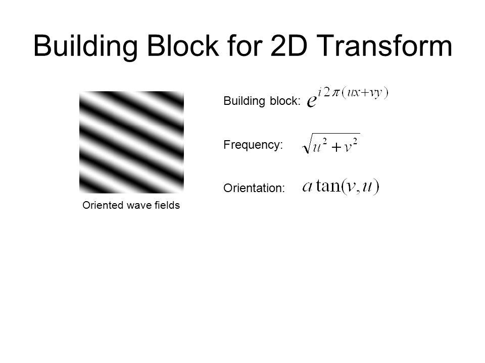 Building Block for 2D Transform Building block: Frequency: Orientation: Oriented wave fields