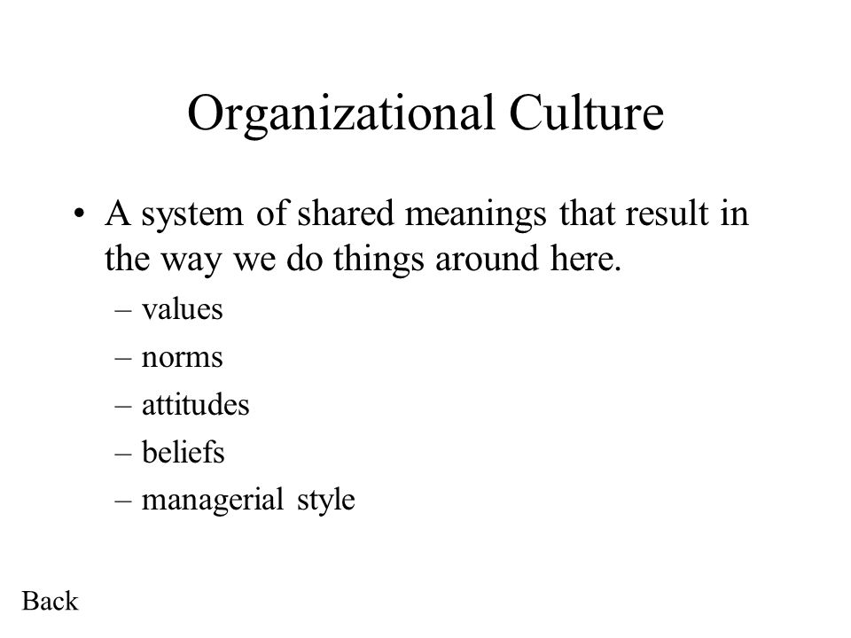 Organizational Culture A system of shared meanings that result in the way we do things around here.