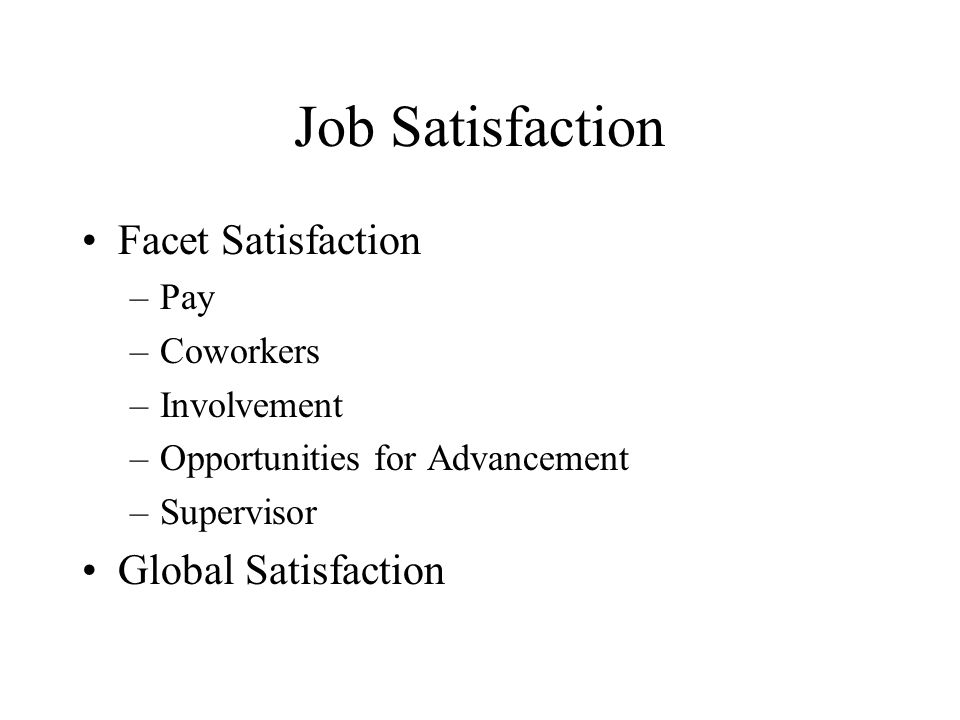 Job Satisfaction Facet Satisfaction –Pay –Coworkers –Involvement –Opportunities for Advancement –Supervisor Global Satisfaction