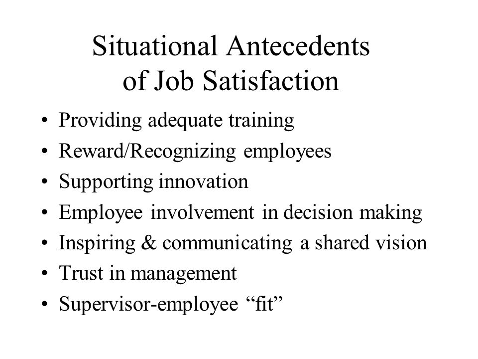 Situational Antecedents of Job Satisfaction Providing adequate training Reward/Recognizing employees Supporting innovation Employee involvement in decision making Inspiring & communicating a shared vision Trust in management Supervisor-employee fit