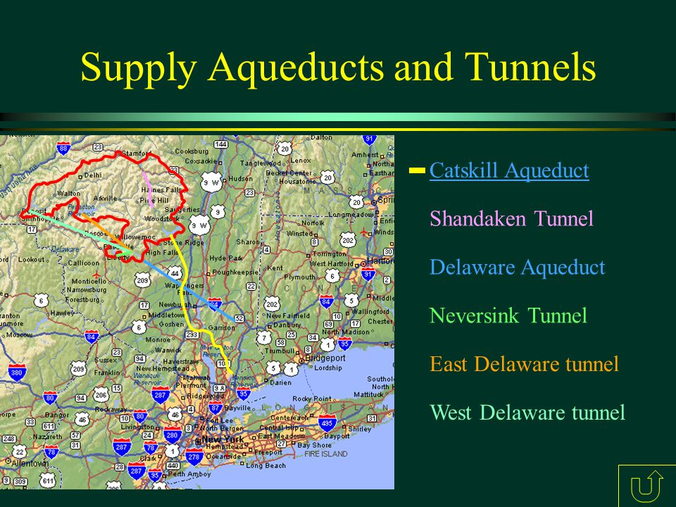 Supply Aqueducts and Tunnels Catskill Aqueduct Delaware Aqueduct East Delaware tunnel West Delaware tunnel Shandaken Tunnel Neversink Tunnel