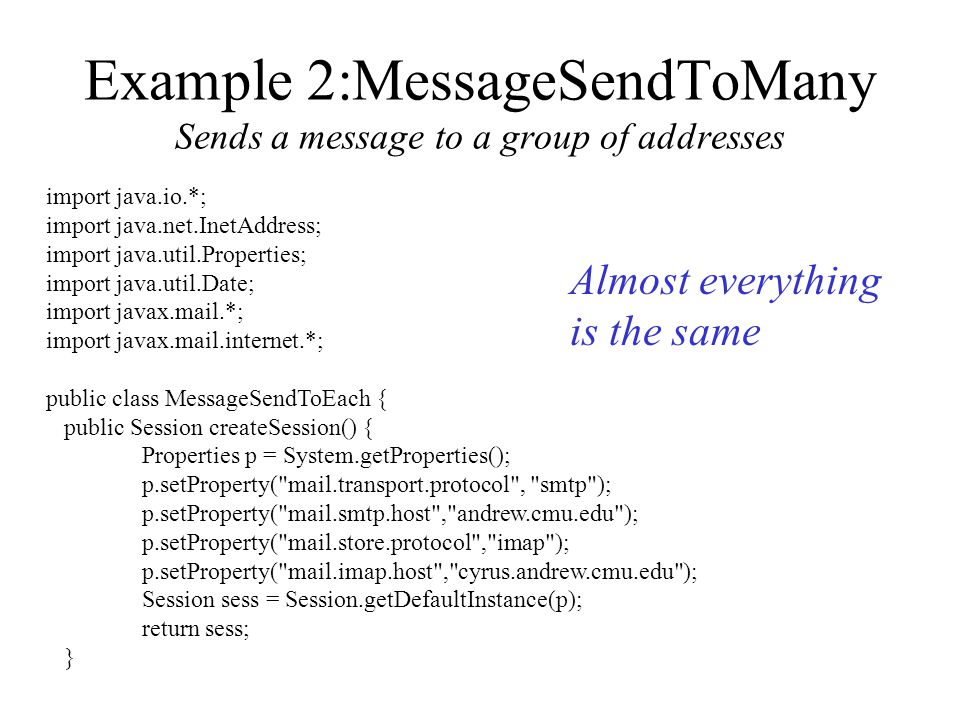 JavaMail Electronic Mail Concepts JavaMail Classes Examples