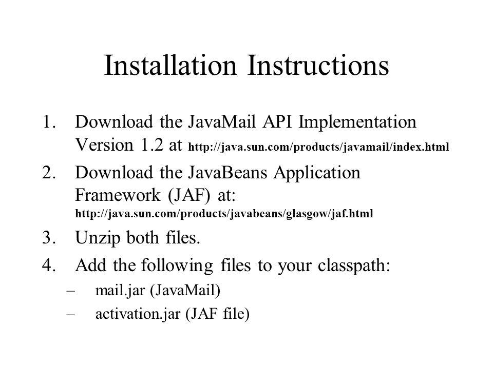 Download activation. Jar for javamail.