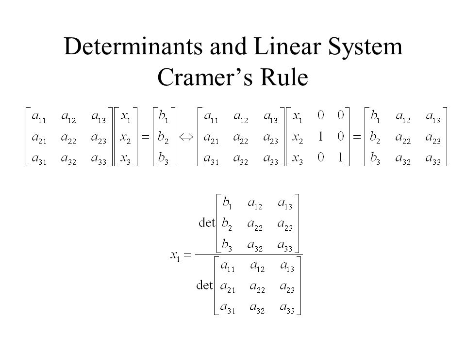 Determinants and Linear System Cramer's Rule