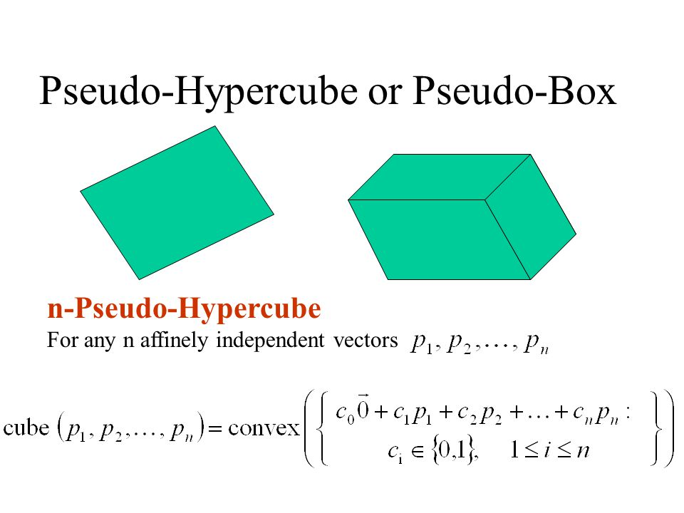 Pseudo-Hypercube or Pseudo-Box n-Pseudo-Hypercube For any n affinely independent vectors
