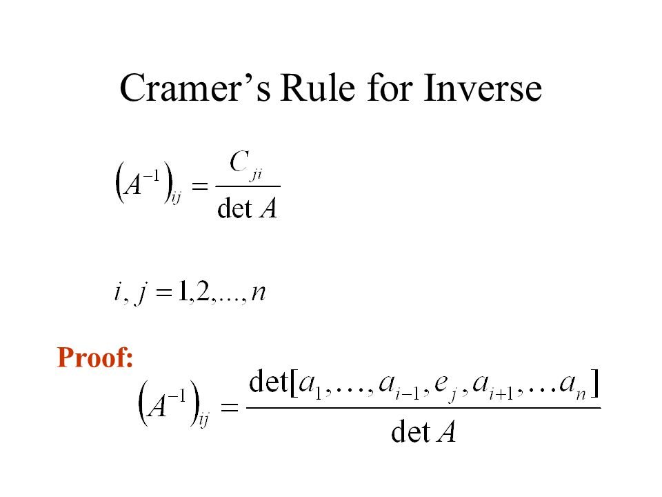 Cramer's Rule for Inverse Proof: