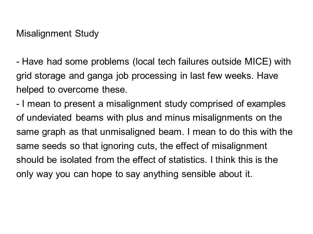 Updates: Misalignment, Statistics David Forrest (Happy new year ...