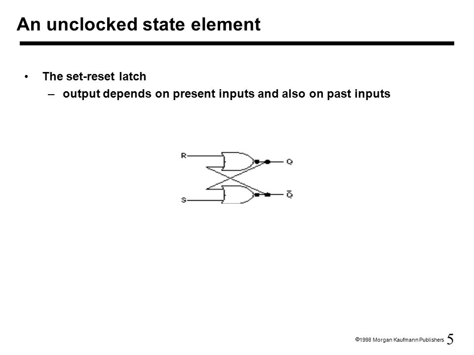 5  1998 Morgan Kaufmann Publishers The set-reset latch –output depends on present inputs and also on past inputs An unclocked state element
